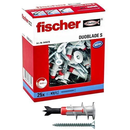 Fischer Duoblade S 545676 - Tacos de yeso autoperforante, incluye tornillos, tacos para placas de yeso, tacos para placas ligeras, tacos para paneles de yeso, 25 unidades, Rojo