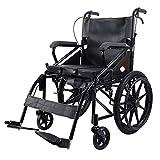 TWL LTD-Wheelchairs Älterer Tragbarer Faltbarer Manueller Rollstuhl Behinderter Tragbarer Rollstuhl Ältere mit Handbremse Faltbarer Rollstuhl, Sitzkissen aus schwarzem Leder -