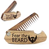 Wooden Beard Comb for Men Folding Pocket Comb for Moustache Beard & Hair Walnut Combs with Fear the Beard Engraving