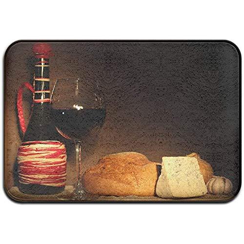 Joe-shop Tapijt Anti-slip Vlek Fade Resistant Deur Mat Rode Wijn en Brood Outdoor Indoor Mat Room Tapijt