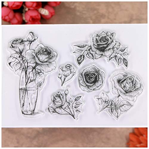 KWELLAM Flowers Rose Vase Clear Stamps for Card Making Decoration and DIY Scrapbooking