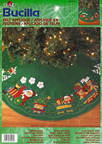 Bucilla Santa Bear with Toy Train 43' Tree Skirt Felt Applique Kit