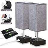 ZEEFO USB Table Lamp, Gray Square Fabric Shade Bedside Table Lamp with Two AC Outlet & Dual USB Charging Ports, Modern Design Desk Lamp Ideal for Bedroom,Office,Guest Room, Kids Room (Set of 2)