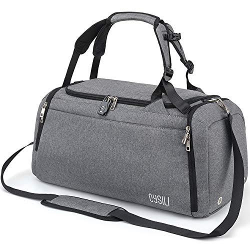 CySILI® Reisetasche Sporttasche mit Rucksack-Handgepäck mit Schuhfach - Nassfach & Zahlenschloss - Männer & Frauen Fitnesstasche - Tasche für Sport, Fitness,42L Gym - Travel Bag & Duffel Bag (Grey)