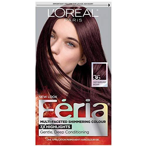 L'Oreal Feria Multi-Faceted Shimmering Colour, Warmer, 36 Deep Burgundy Brown, 1 ea