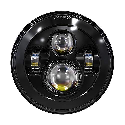 TRUCKMALL 7 inch LED Headlight for Harley Davidson Touring Ultra Classic Electra Street Glide Fatboy Heritage Softail Slim Deluxe Switchback Road King Motorcycle Black