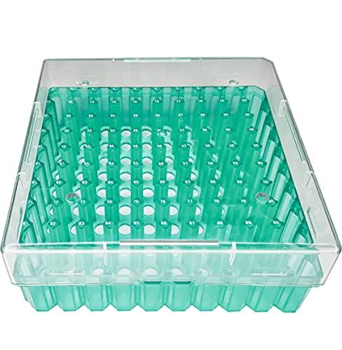 ZHIBANG 100 posiciones Cryobox con tapa para tubos de 2 ml, caja Cryo para viales de 2 ml, caja de almacenamiento para congelador, 10 x 10 unidades (verde)