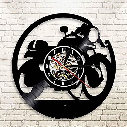 TJIAXU Reloj de Vinilo Creativo Mini Lindo Forma de Motocicleta Registro Reloj de Pared decoración del hogar Reloj de Pared de Arte de Pared