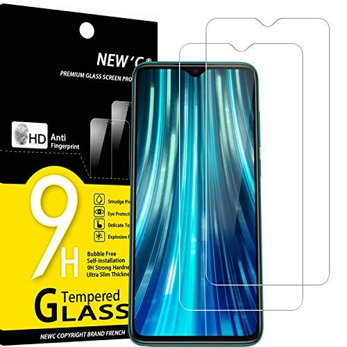 NEW'C Lot de 2, Verre Trempé Compatible avec Xiaomi Redmi Note 8 Pro, Redmi 9, Film Protection écran sans Bulles d'air Ultra Résistant (0,33mm HD Ultra Transparent) Dureté 9H Glass