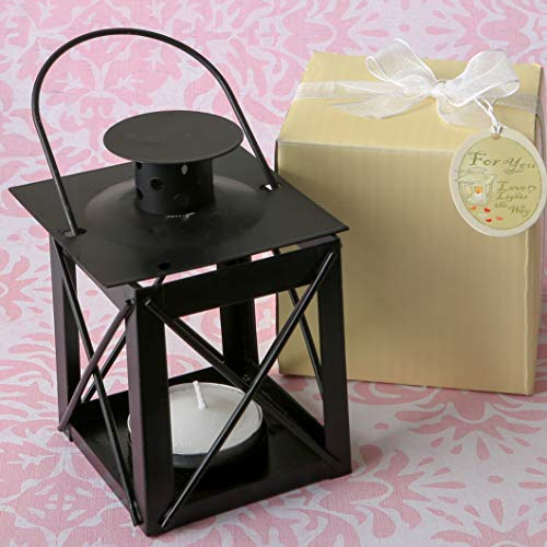 FASHIONCRAFT Mini Lantern Decorative, Luminous Vintage Tea Light Candle Holders, Ornaments Hanging or Table for Wedding and Home Decor, Party Favor Bulk - 4 x 2.3 x 2.3 (Black, 1 Piece)