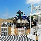 Papel Pintado Pared Dormitorio Infantil Tractor Azul 120x100Cm Moderno Fotomurales Salón Dormitorio Despacho Pasillo Decoración Murales Decoración De Paredes