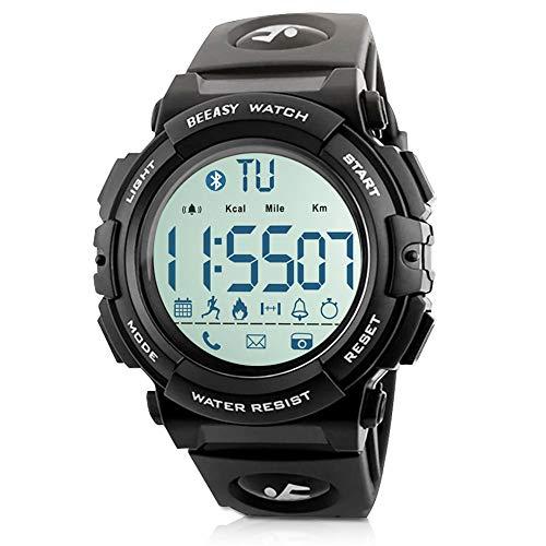 Beeasy Herren Digital Sportuhr,wasserdichte Armbanduhr Uhr Männer Militär Outdoor Herrenuhr Watches for Men Fitness Tracker mit Kalorienzähler Schrittzähler Fernkamera SMS APP für iOS Android,Schwarz