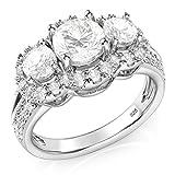 Plata de Ley de 925 3 piedra Zirconia cúbico CZ anillo de compromiso de Halo
