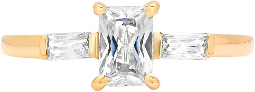 1.05ct Emerald Baguette cut 3 stone Solitaire Accent Genuine Flawless White Lab Created Sapphire Gemstone Engagement Promise Statement Anniversary Bridal Wedding Ring Solid 18K Yellow Gold