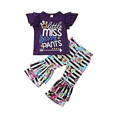 2PCS Kids Girl Clothes Ruffles Arrow Tee Shirt Flare Stripes Pants Outfits Baby Girl Floral Pants Set (Purple White Black, 1-2T)