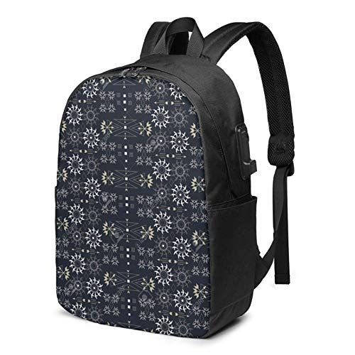 IUBBKI Bolsa para computadora mochila USB Stylized Daisies And Birds 17 Inch Laptop Backpack For Men & Women,Travel/School Backpack With Usb Charging Port & Headphone Interface