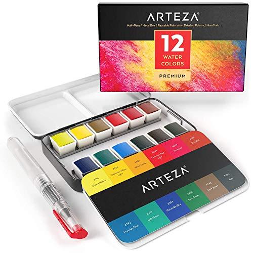 ARTEZA Estuche de pinturas de acuarela | 12 medias pastillas | 12 Colores surtidos | Incluye 1 pluma de pincel de agua