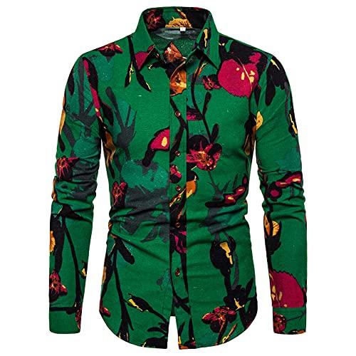 Ocuhiger Camisas Casuales De Moda para Hombres Camisa De Manga Larga con Cuello Vuelto Camisa Ajustada con Botones Blusa con Estampado Digital De Rayas para Hombres Verde