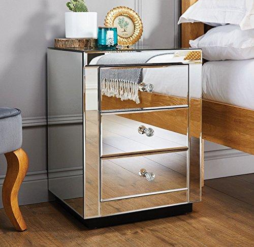 Furniturebox UK Italian Mirrored Bedside Side Table Cabinet Modern 3 Drawer