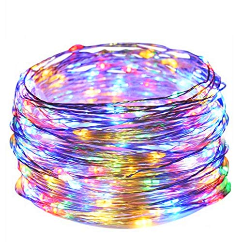 Twinkle Star 33FT 100 LED Silver Wire String Lights Fairy String Lights Battery Operated LED String Lights for Christmas Wedding Party Home Holiday Decoration (Multicolor)