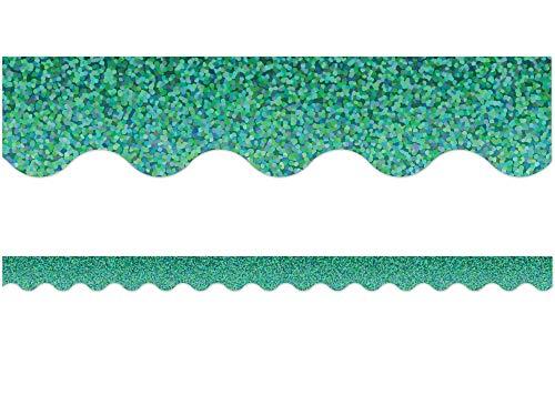 Teacher Created Resources Green Sparkle Scalloped Border Trim