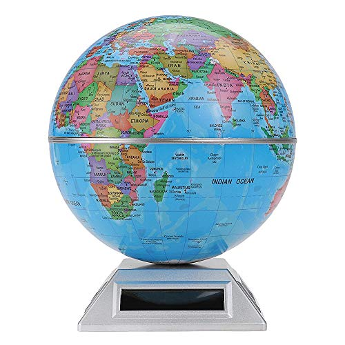 MICEROSHE Discovery World Globe Mappa Regalo Solare Automatico Globo Rotante Decorativo Desktop Earth Geografia World Globe Base World Education (Colore : Blu, Dimensione : Taglia Unica)