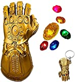 SNFHL Iron Man Infinite Gloves, Led Gemstone Glowing Gloves Halloween Cosplay Props,Adult