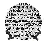Zoo - Plato decorativo de cerámica de 15,24 cm, diseño de siluetas de animales, gran colección Wildlife Nature Mamíferos iconos de impresión monocromática decorativa plato de cena para Navidad