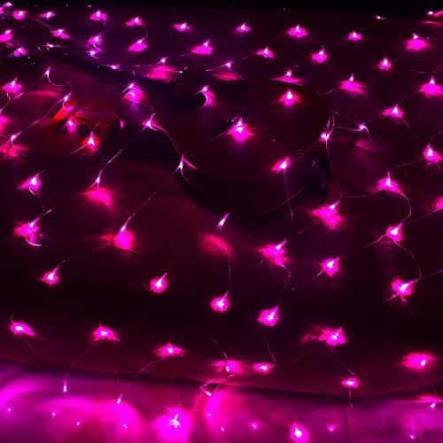 LED Netz-Ineinander greifen Fairy String dekorative Leuchten, 200 LEDs 9.8ft x 6.6ft Baum-wrap, Indoor Outdoor Dekorative Weihnachten Twinkle Lichter, für Hochzeit Garten-Dekorationen,Rosa