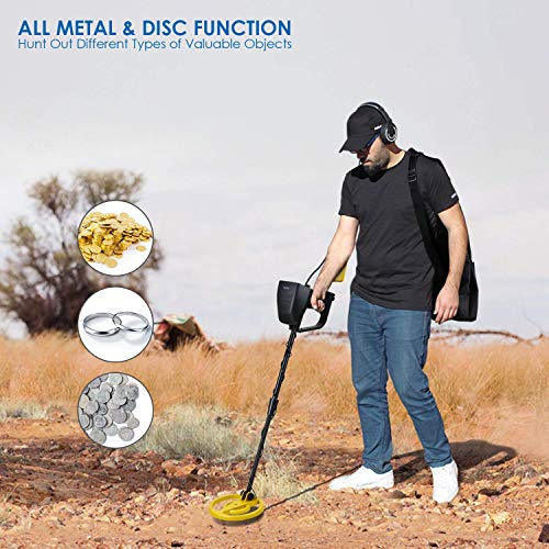 Amzdeal Metal Detector Pinpoint Targeting Waterproof Coil Adjustable DISC and High SENS with Folding Shovel&Carry Bag for Adults and Beginners to Hunt Treasure