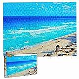 México Cancún Playa Rompecabezas para Adultos, 500 Piezas de Madera, Regalo de Viaje, Recuerdo, 20.4 x 15 Pulgadas