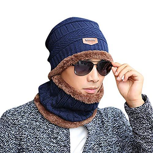 KPPONG Unisex 2-teilig Hut Schal Set, Winter Mütze Warm Dick Knit Skull Cap