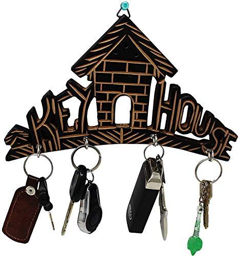 Wooden Key House,Key Hanger,Wooden Key Holder for Wall,Key Hook for Wall,Key Organizer,Key Hanger for Wall,Wooden Key Holder with Brass and Decorative Design Key Hanger Home Shaped,Wall Key Holder