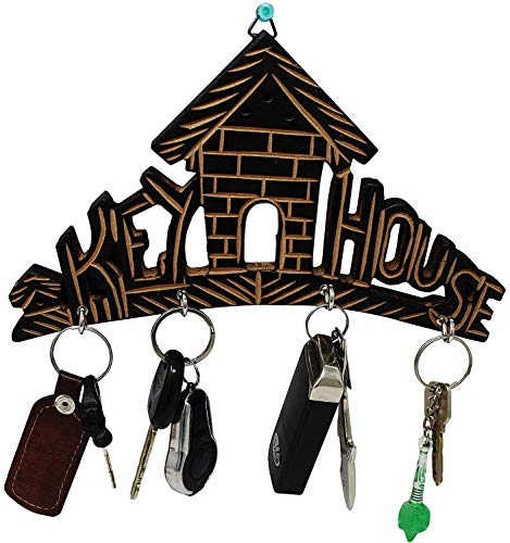 Wooden Key House,Key Hanger,Wooden Key Holder for Wall,Key Hook for Wall,Key Organizer,Key Hanger for Wall,Wooden Key Holder with Brass and Decorative Design Key Hanger Home Shaped,Wall Key Holder