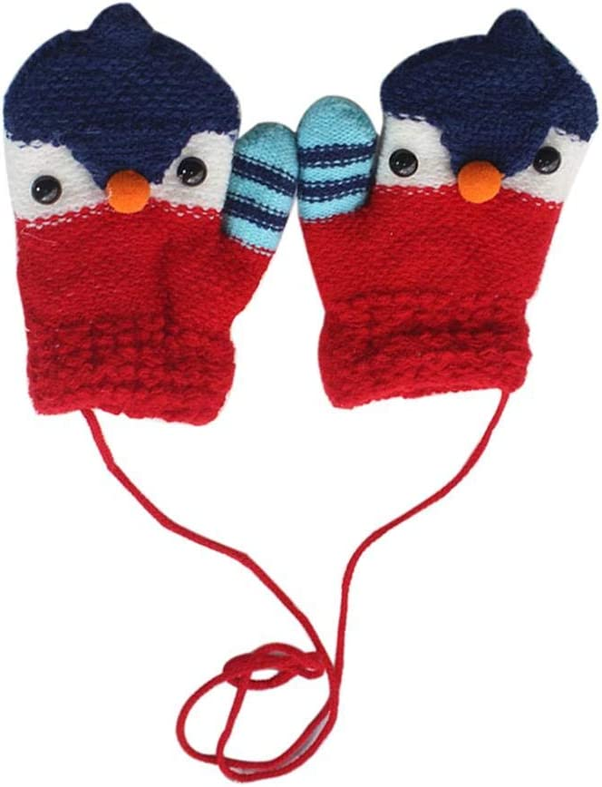 Cartoon Penguin Kids Knitting Elastic Thick Crochet Gloves Full Finger Mittens - (Color: Purple)