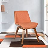 Armen Living Agi Dining Chair in Orange Fabric and Walnut Wood Finish