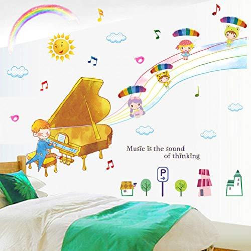 Ein Junge Spielt Klavier Wandaufkleber Für Kinderzimmer Schlafzimmer Dekoration Diy Musikthema Wandbild Kunst Home Decals