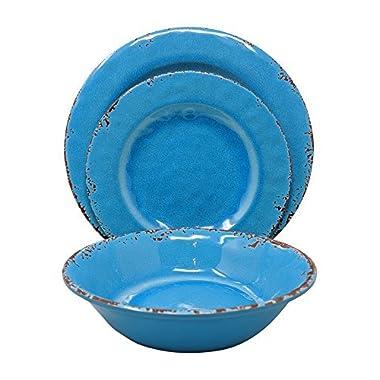 Gianna's Home 12 Piece Rustic Farmhouse Melamine Dinnerware Set, Service for 4 (Easter Egg Blue)