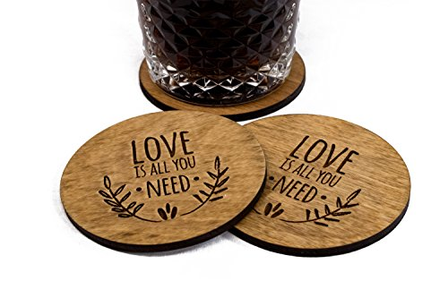 "Love Is All You Need - Wedding Coasters - 4 3.5"" Round Engraved Birch Wood Natural Finish"