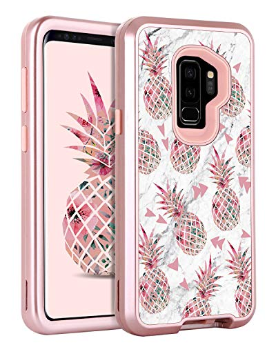 Galaxy S9 Plus Case Samsung S9 Plus Case Pineapple for Girl Women, GUAGUA Marble Glossy Cover Hybrid 3 in 1 Hard PC Soft Bumper Shockproof Protective Case for Samsung Galaxy S9 Plus Rose Gold White
