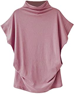 Zackate Womens Turtleneck Bat Short Sleeve Cotton Tees Solid Color Casual Blouse Top T Shirt Oversize
