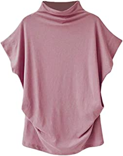 TUDUZ Blouse Women's Blouses Elegant Turtleneck Short Sleeve Casual 6XL Pink