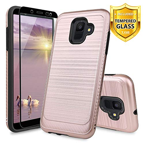 TJS Case Compatible for Samsung Galaxy A6 2018, with [Tempered Glass Screen Protector] Hybrid Shockproof Resist Drop Protection Phone Case Cover Metallic Brush Finish Hard Inner Layer (Rose Gold)