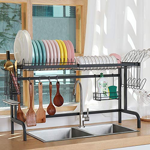 Over the Sink Dish Drying Rack,X-cosrack Kitchen over Sink Rack with Utensil Holder for Kitchen Supplies Organizer Storage,Black