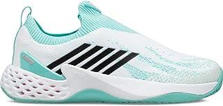 حذاء K-Swiss حريمي Aero Knit Tennis Shoes (9. 5، أبيض/أروبا أزرق/وردي نيون ناعم)