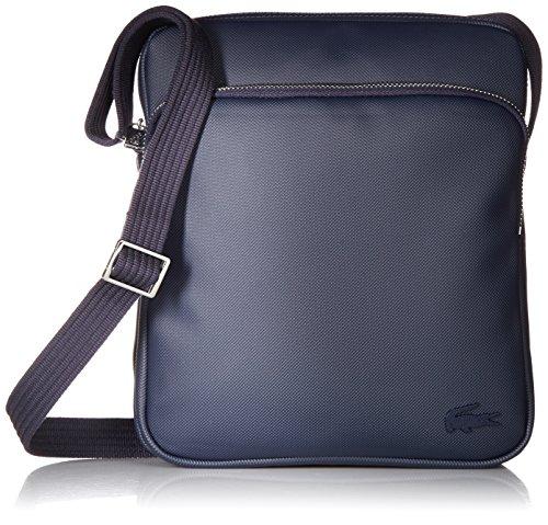 Lacoste Mens Classic Petit Pique Double Bag Messenger Bags, Peacoat Blue, One Size