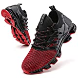 TSIODFO Sneakers for Men Running Walking Sneakers Fashion Casual Sport Running Shoes Athletic Tennis Shoes Jogging Sneaker Black red Youth Big Boys Size 6