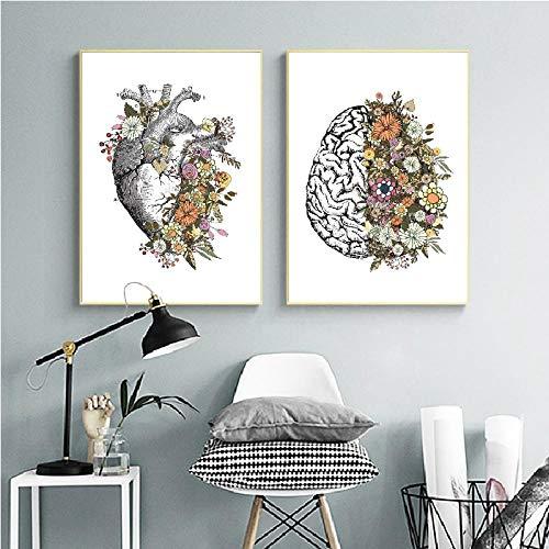 MXmama Anatomía De La Vendimia Corazón Floral Cerebro Arte De La Pared Lienzo/Pintura Retro Carteles/Impresiones Cuadros De La Pared Médico Decorativo Clínica-60X80Cmx2 Sin Marco