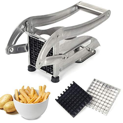 French Fries Cutter, LSOFNRB Quick Cut Effect Stainless Steel Potato Cutter, Easy to Clean Potato Slicer for Vegetable/Fruit, Includes 2 Blade