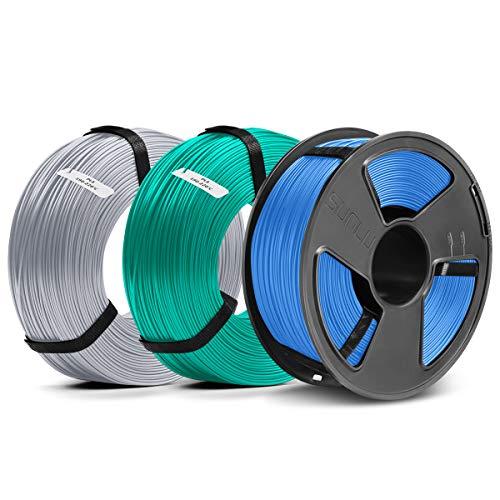 SUNLU Filament 1.75mm PLA 3D Drucker Filament PLA MasterSpool Filament 3KG PLA Blue Grey+Grass Green+Sliver